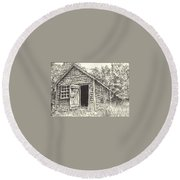 Old Lanes Cove Fishing Shack Round Beach Towel