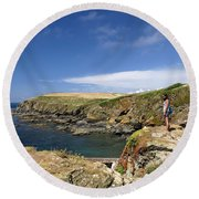 Old Lizard Head And Polpeor Cove Round Beach Towel
