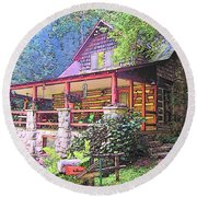 Old Log Cabin Home Round Beach Towel