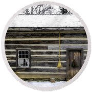 Old Log Home With A Broom Round Beach Towel