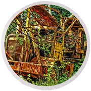 Old Logger-hdr Round Beach Towel