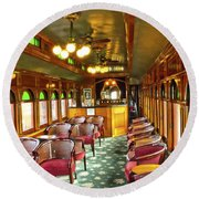 Old Lounge Car From Early Railroading Days Round Beach Towel