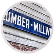 Old Lumberyard Sign Round Beach Towel