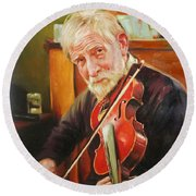 Old Man And Fiddle Round Beach Towel