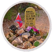 Old Man Clanton At Boot Hill Round Beach Towel