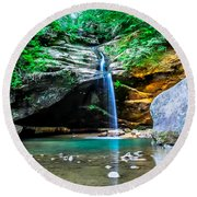 Old Mans Cave Lower Falls Round Beach Towel
