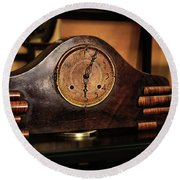 Old Mantelpiece Clock Round Beach Towel by Kaye Menner