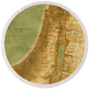 Old Map Of The Holy Land Round Beach Towel