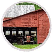 Old Massey Ferguson Red Tractor In Barn Round Beach Towel