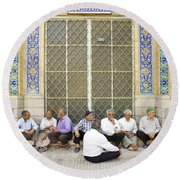 Old Men Socializing In Yazd Iran Round Beach Towel
