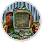 Old Metal Wheeled Tractor Hdr Round Beach Towel
