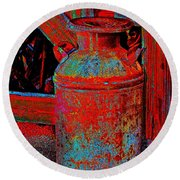 Old Milk Pail Pop Art Round Beach Towel
