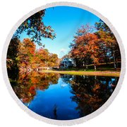 Old Mill House Pond In Autumn Fine Art Photograph Print With Vibrant Fall Colors Round Beach Towel
