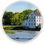 Old Mill On Grand River In Caledonia In Ontario Round Beach Towel