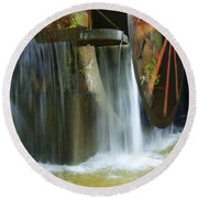 Old Mill Water Wheel Round Beach Towel
