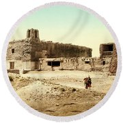Old Mission Church At Acoma Round Beach Towel