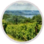 Old Mission Peninsula Vineyard Round Beach Towel