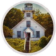 Old Mission Point Light House 02 Round Beach Towel