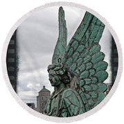 Old Montreal Angel Filmstrip Round Beach Towel