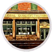 Old National Bank Of Thurmond Round Beach Towel