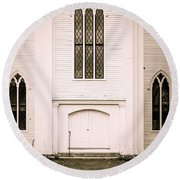 Old New England Gothic Church Round Beach Towel