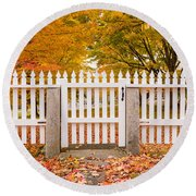 Old New England White Picket Fence Round Beach Towel