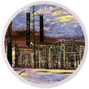 Old New Orleans Electric Plant Round Beach Towel