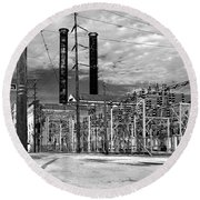 Old New Orleans Power Plant Round Beach Towel