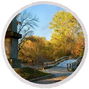 Old North Bridge Round Beach Towel by Brian Jannsen