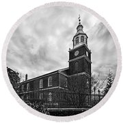 Old Otterbein Church In Black And White Round Beach Towel