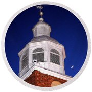 Old Otterbein Umc Moon And Bell Tower Round Beach Towel