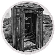 Old Outhouse Round Beach Towel
