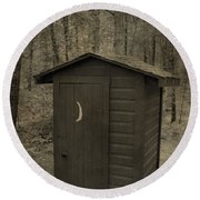 Old Outhouse Out Back Round Beach Towel