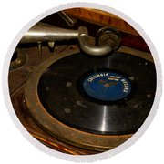 Old Phonograph Round Beach Towel
