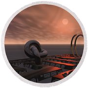 Old Pier And Sculptures Round Beach Towel