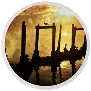 Old Pier At Sunset Round Beach Towel