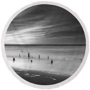 Old Piling Bw Round Beach Towel