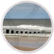 Old Pilings Round Beach Towel
