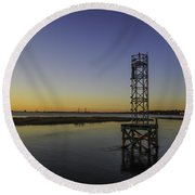 Old Pit Street Bridge To Ravenel Bridge Round Beach Towel