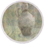 Old Pitcher Abstract Round Beach Towel