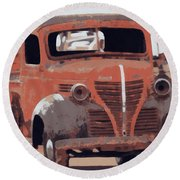 Old Plymouth Trucks Round Beach Towel