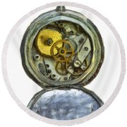 Old Pocket Watch Round Beach Towel