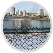 Old Port Of Montreal Round Beach Towel