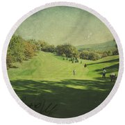 Old Postcard Of Golf Buddies At The Homestead Round Beach Towel