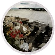 Old Quebec City By St.lawrence Round Beach Towel