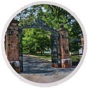Old Queens Entrance Gate Round Beach Towel
