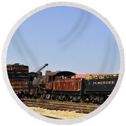 Old Railroad Cars From The Series View Of An Old Railroad Round Beach Towel