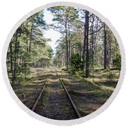 Old Railroad Tracks Round Beach Towel