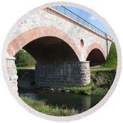 Old Railway Bridge In Silute. Lithuania. Summer Round Beach Towel