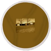 Old Red Barn In Sepia Round Beach Towel